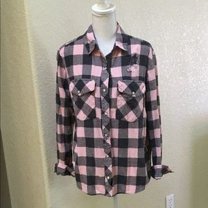 Forever 21 Pink & Gray Flannel Shirt Size L